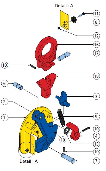 cast - schema pinza anello snodato